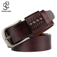Buy SEVEN SKIN designer belts men high genuine leather strap male pin buckle belt jeans cintos masculinos ceinture homme for $9.97 in AliExpress store
