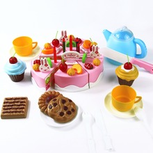 54pcs Kitchen Cookware Set Fruit DIY Cutting Birthday Cake Early Educational Classic Toy Pretend Play Kitchen Food Plastic Toy