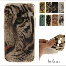 Cartoon Tiger Lion Painted Glossy Soft TPU Silicon Back Cover Protective Mobile phone Case for Samsung Galaxy J1 2016 J120 J120F