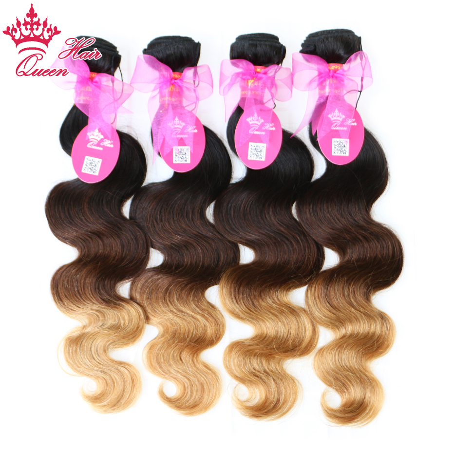 Queen Hair Ombre Hair Extensions Products Brazilian Body Wave 3 Tone #1b/#4/#27 Remy Human Hair Weave Free Shipping
