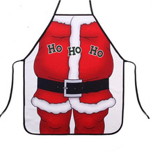 2pcs/lot Christmas Santa Claus Apron Red Polyester Aprons for Adults Children Christmas Decoration Supplies Commodity Avidad(China)