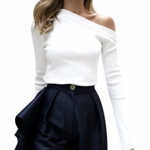 Buy Spring Sexy Tops Shoulder White Blouse Shirts Women Slash Neck Flare Sleeve Slim Blouse Korean Fashion Blusa Feminina for $8.30 in AliExpress store