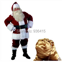 Free shipping christmas costumes santa claus blue red adult wholesale clothing halloween costumes