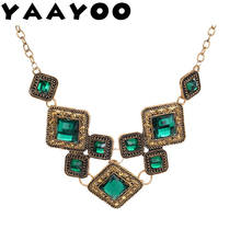 YAAYOO Green Square Vintage Statement Necklace Women Retro Rhinestone Necklace & Pendants Summer Style Jewelry Colar(China)