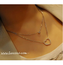N133 Latest Fashion Ladies Double Heart-Shaped Necklace Sparkling Imitation Jewelry Factory Direct