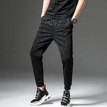 Europe and the United States Large Size Men's Casual Black Loose Elastic Waist Multi-pockets Small Feet Casual Men's Pants/M-3XL