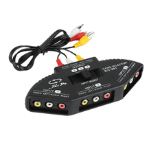 New 3-Way Audio Video AV Switch Box RCA Black Switch Selector Box Splitter with 3RCA Cable for All Standard AV Devices