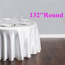 Free Shipping 10pcs Cheap White 132'' Round Satin Table Cloths Banquet Table Covers Wedding Table Linens(China)