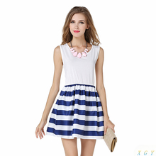 Fashion Summer Women Dress Navy Sailor Striped Printed Dress Sleeveless Blue White Striped Dress Simple Fashion Dress CC2902(China)