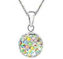 Fine Shamballa Jewelry Pendant Necklaces, White New Shamballa Necklaces Micro Pave CZ Disco Ball Beads, Women Necklaces sa776