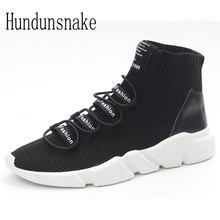 Hundunsnake High Top Trail Sock Sneakers Men Black Knit Running Shoes For Men Krasovki Women Gumshoes Adult Male Sport Shoe T386(China)