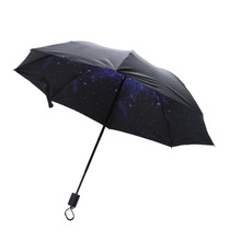 3D Star Sky White C louds Printed Sunny Umbrella Sun Umbrella Vinyl Anti-UV Windproof Rainproof Folding Umbrella Sun Protection