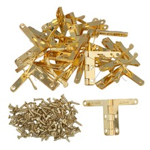 BQLZR Hinge Hardware Accessories 33x30mm Gold Flemingia Spring Hinge for Jewelry Box Pack of 20