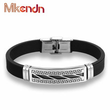 FASHION Men Charm Bracelet Wristband Great Wall Pattern Stainless Steel Silicone Rubber Wristband Bracelets Trendy Mens Jewelry