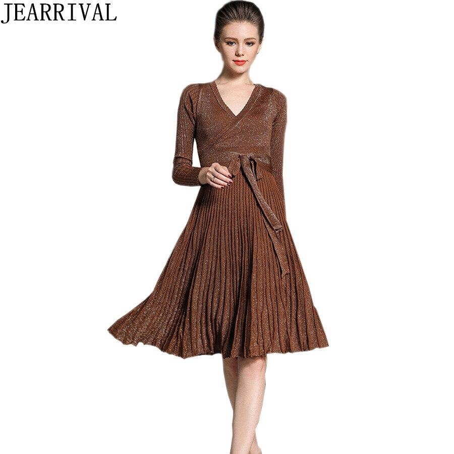 2017 New Fashion Knitted Winter Dress Elegant Women Long Sleeve Sexy V-Neck Sequines Solid Color Elastic Party Dresses VestidosÎäåæäà è àêñåññóàðû<br><br>