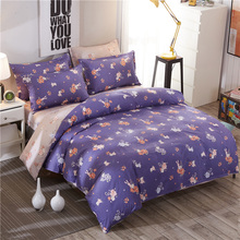 Pastoral Style Purple Print Pattern 4Pcs Bedding Sets Contain Duvet Cover Set Bed Sheet Pillowcase Full Queen Super King 5 Size(China)