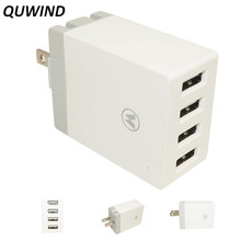 QuWind 5V 2.4A 4 USB Ports US Plug Power Adapter Wall Charger for Cell Phones Tablet PC(China)