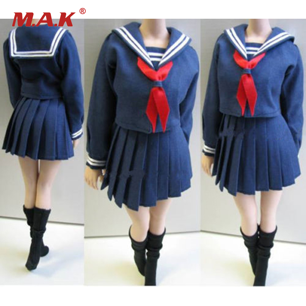 1/6 Female Students School Uniforms and Stockings Full Set Clothing Without Figure and Body for 12 Inches Bodies Figures<br>