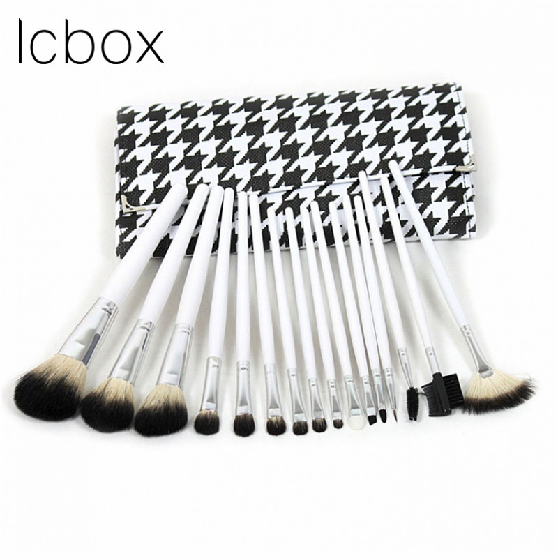 LCBOX 16pcs Makeup Brushes Set Professional Soft Cosmetics Eyebrow Shadow Powder Pinceaux Brush Set Tools Kit + Pouch Bag<br>