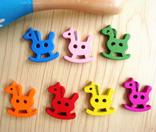 DIY Manual accessories Colorful Cartoon Trojan Wooden buttons Primary color(China)