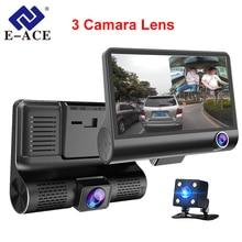 E-ACE Car DVR 3 Cameras Lens 4.0 Inch Dash Camera Dual Lens With Rearview Camera Video Recorder Auto Registrator Dvrs Dash Cam(China)
