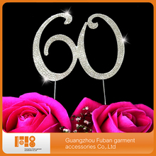 (20 pcs/lot )Hot Sale Wedding Anniversary party decoration  Birthday Number 60 Rhinestone Crystal Cake Topper ,free shipping