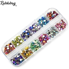 Rolabling Nail Polish Decoration AB 4mm Gorgeous Cone Colorful Nail Art Rhinestone 12 Colors For DIY Manicure Design(China)