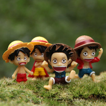3cm 4pcs/lot One Piece Monkey D Luffy Anime Animation Action Figure DIY Micro Landscape Garden Gifr Decoration Free Shipping(China)