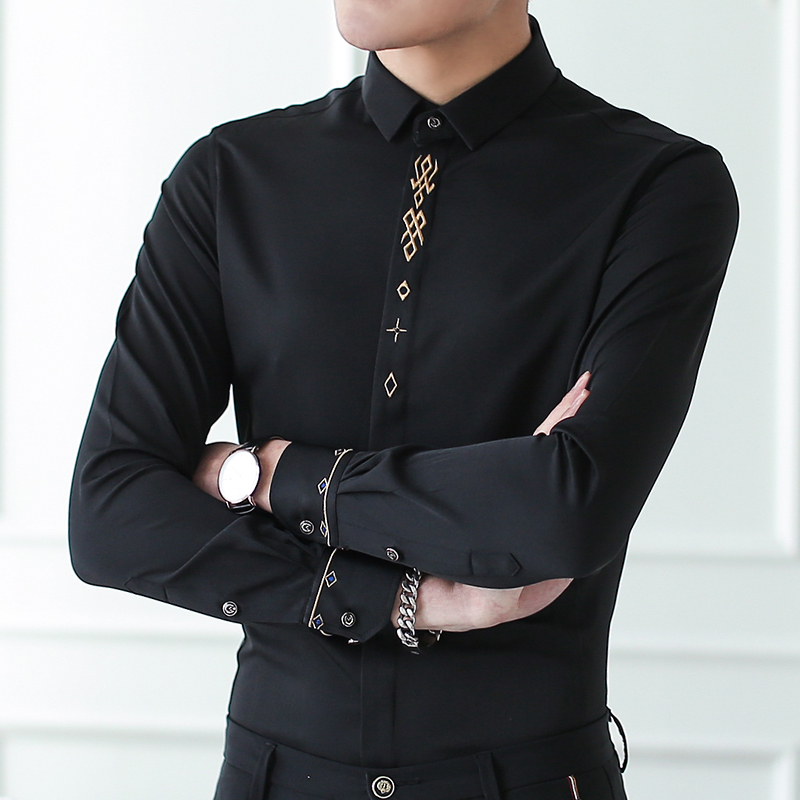 Men Elasticity Shirts 6 Camicie Style Breasted Men...