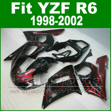 New arrival Plastic parts for YAMAHA R6 fairing kit 98-02 red flames in black  YZF R6 fairings1998 1999 2000 2001 2002 bodywork