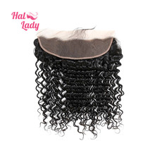 "Halo Lady Beauty Deep Wave Full Lace Front Closure With Baby Hair (13*4) Peruvian Virgin Human Hair Frontal 8""-20"" Color 1B DHL"