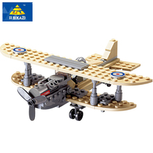 126Pcs 82001 Kazi Military War Weapons Armed Sopwith F-1 Camel Fighter Plane Model Building Kits Blocks Bricks Toys For Children