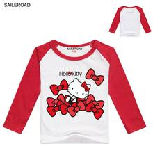 SAILEROAD Hello Kitty Baby Girls Long Sleeve T Shirt 3-12Years Old Children Kids Girl's Wear Spring Autumn Clothing Cotton Shirt