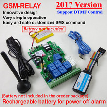 2017 New GSM-RELAY 1pcs Seven output gsm relay sms call remote controller Rechargeable battery for power off alarm app