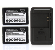 2x Replacement  Battery 1800mAh + USB Wall Charger USB Port Adaptor  for Blackberry Bold 9700 9780 9000 Wholesale