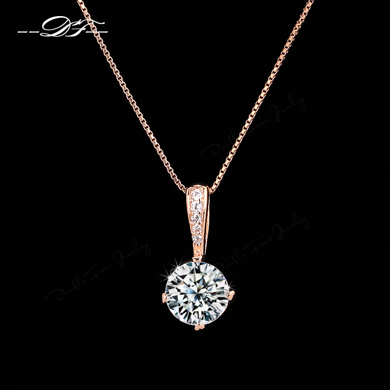 Double Fair OL Style Cubic Zirconia Chain Necklaces & Pendants Rose Gold Color Fashion Crystal Wedding Jewelry For Women DFN426(China)