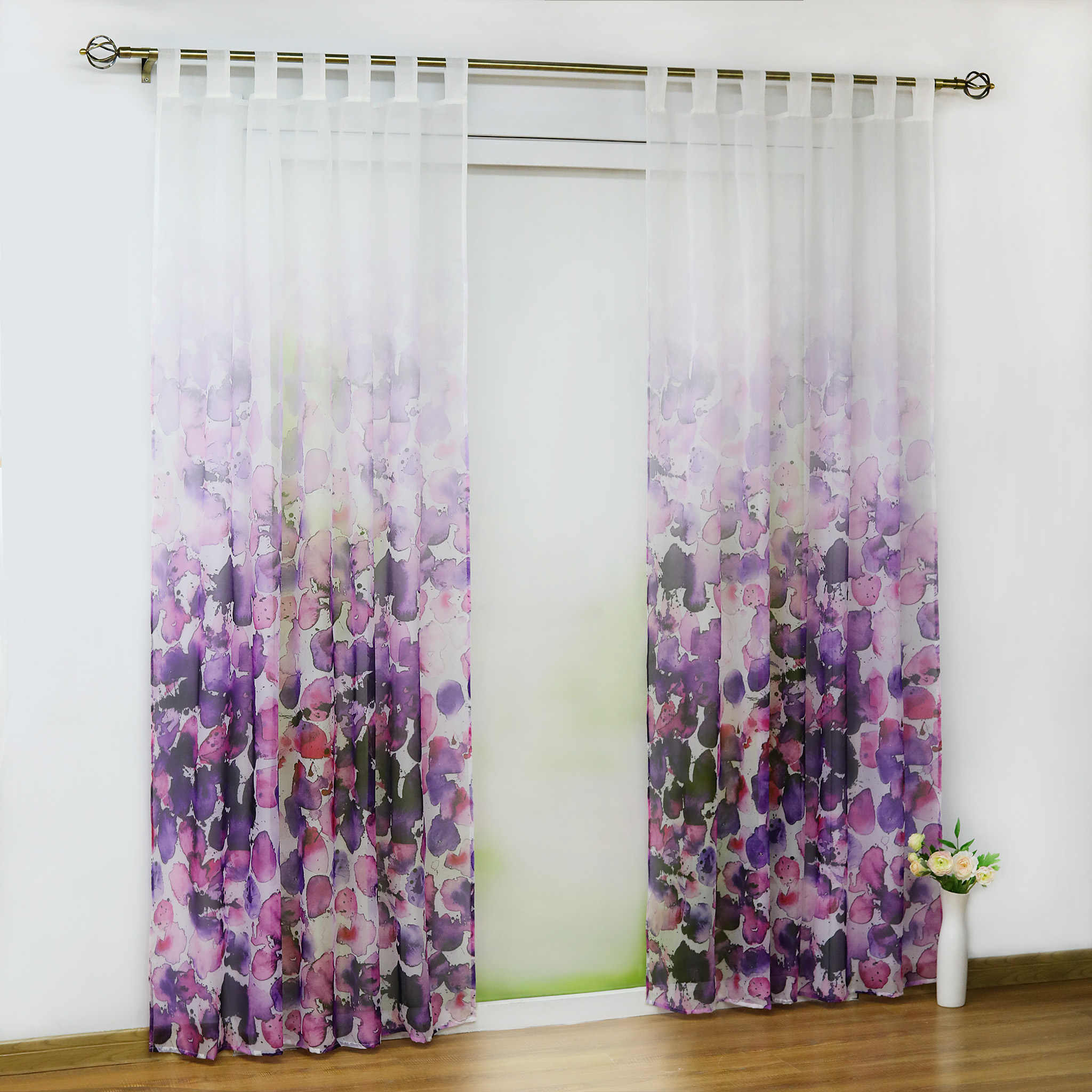 Europe Purple Floral Decorated Curtain Transparent Sheer Tulle Voile Fabric Sheer Living Room Modern Window Treatment 1PCS/Lot