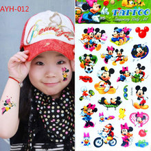 1pc Minnie Mouse Girl Flash Tattoo Stickers 21*10cm Children Temporary Waterproof Fake Tatoo Mickey Kids Cartoon Body Art Free