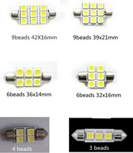 10pcs/lot 5050SMD led Double pointed 31-42 mm Both ends tip car reading light License Plate Light Roof lightsTail lamp led bulb