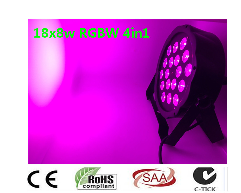 Nuevo 2017 18x8 W RGBW 4in1 RGBW 4IN1 RGBW LED Flat Par Color Mixing LED DJ Luz de la Colada Etapa Uplighting KTV Del Disco <br>