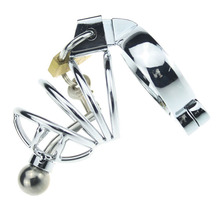 Buy Short Stainless Steel Chastity Belt Cock Cage Removeable Hollow Urethral Sound Catheter 5 Size Penis Ring Sex Toys Man