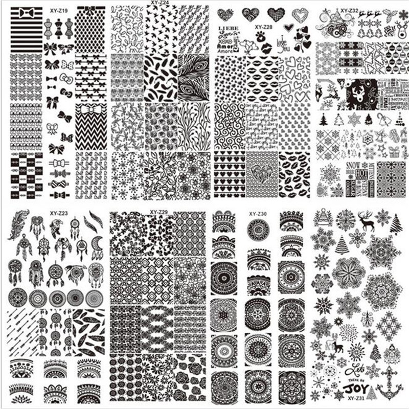USPS Nails Art Stamping Template DIY Nail Latest 32 Styles Art Stamp Template Image Plates Polish Stamping Decal Nail Powder#10<br>