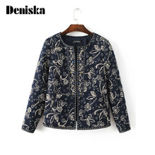 2017 Autumn and Winter New Arrival Women Vintage Short Quilted Jackets, Female Fashion Casual Embroidery Cotton-padded Coats