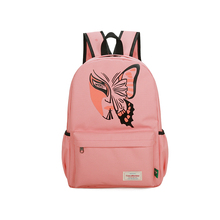 Cute Pink Backpacks For Women Butterfly Print Fashion Women Backpacks High Quality Nylon Girls School Bag