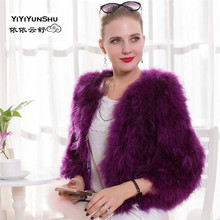 YIYIYUNSHU Import New Real Turkey Fur coat for women Winter Thick Warm Short Natural Ostrich fur Coat Plus Size real fur coat(China)