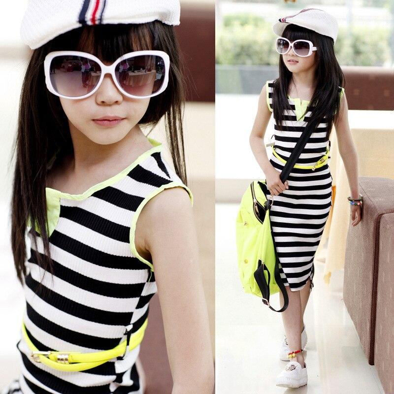 Retail Girls Black and White Stripe Dress with Belt 2016 Summer Cotton Dress for Kids Teenage Girls Long Dress Maxi Dress Girls<br><br>Aliexpress