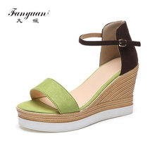 Fanyuan Women Shoes 2017 Summer New Open Toe Fish Head Fashion High Heels Wedge Sandals Mix color Platform Wedding shoes