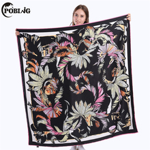 POBING 100% Twill Silk Scarf Women Coconut Leaves Square Scarves & Wraps Female Neckerchief Large Bandana Spain Silk Foulard(China)