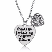 12PC/Lot Teacher's Day Thanks For Helping Me Grow&Learn Hollow Heart Love Pendant Necklace Charm Jewelry Choker Collar Xmas Gift(China)