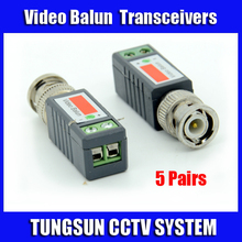 5Pairs CCTV Twisted BNC Passive Video Balun Transceiver Coax CAT5 Camera UTP Cable Coaxial Adapter Camera DVR Free Shipping(China)